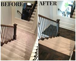 carpet on steps wood on landing larson completed hardwoods in hallway landing