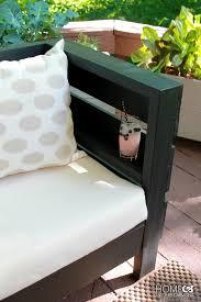 diy outdoor sofa shelf in the armrest