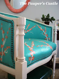 fabric paint for furnitureThe Paupers Castle ReUpholster With Paint  Tutuorial