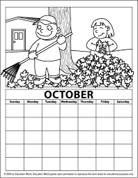 Completed pages oct 2020 (adult coloring). October Coloring Calendar Education World