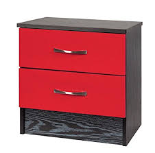 red bedside table. Unique Red Marina RedBlack Bedside Cabinet Wood 35x45x46 Cm Amazoncouk Kitchen  U0026 Home With Red Table