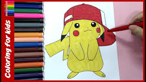 pokemon coloring pages ( pikachu ) colouring tutorial video from ...