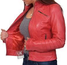 more views las red leather biker jacket