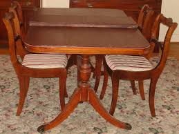 duncan phyfe dining room chairs. Bernhardt Duncan Phyfe Mahogany Dining Room Set Double Pedestal Table 4 Chairs Leaf Pads H