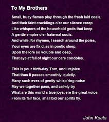 to my brothers poem by john keats poem hunter