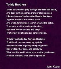 to my brothers poem by john keats poem hunter
