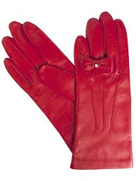 dents las red leather gloves with finger bow