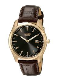 citizen rose gold tone men s eco drive leather band watch