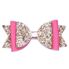 10 pcs lot 4 inch chunky glitter faux leather bow hair clips stacked shimmery hair bow