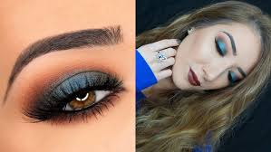 blue green smokey eye brown lips makeup tutorial anastasia beverly hills fall eye shadow singles you