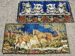 retro vintage wall hanging tapestry rugs horses and kittens velvet plush carpet fabric