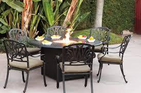 patio furniture dining set cast aluminum 60 round propane fire pit table 7pc lisse