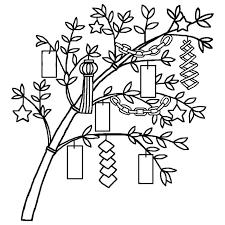 笹の葉の飾りつけ白黒七夕たなばたの無料イラスト夏の季節行事