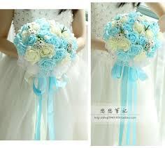 New Arrival Wedding Bouquet Handmade Flowers Sky Blue And Ivory Bridal Bouquet Wedding Bouquets