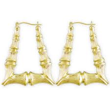 10k gold rectangular door knocker bamboo hoop earrings 1 1 2 inch