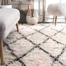 white wool shag rug. Beautiful Rug Shop NuLOOM Handmade Moroccan Trellis Wool Shag Area Rug 4u0027 X 6u0027  8u0027  10u0027 On Sale Free Shipping Today Overstockcom 7508982 Intended White D