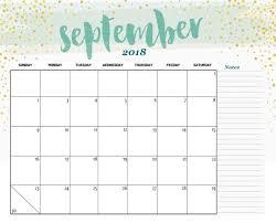 September 2018 Calendar Cute Designs Free Printable