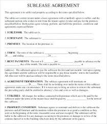 Apartment Sublease Template Apartment Sublease Agreement Template Free Form Commercial Contract