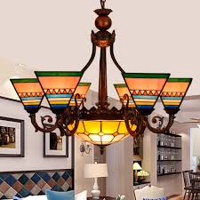 Tiffany Dining Room Lights Us 393 82 42 Off Southeast Asian Style 6 8 Heads Living Room Dining Room Chandelier Tiffany Stained Glass Restaurantpendant Lamps 110 240v E27 In