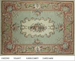 flat weave aubusson rugs 9 x 12 green field pink border 100 new zealand wool hand woven gc4aub109
