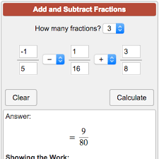 Adding Fractions Calculator