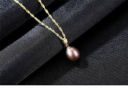 18k yellow gold pendant red freshwater pearl pendant necklace gift for women brand party pearl pendants with 45cm 925 chain urmall