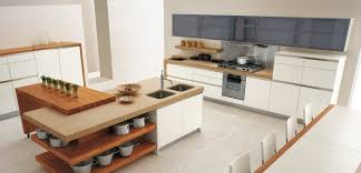 open kitchen island with shelves