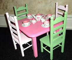 Pink Green Square Table And 4 Chair Set American Girl Doll 12500