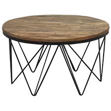 reclaimed wood round coffee table with