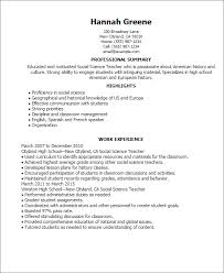 Resume Templates: Social Science Teacher