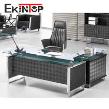 executive glass office desk. Modern Executive Table Tempered Glass Office Desk With Metal Chrome Leg I