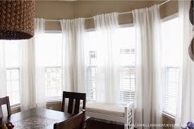 Decorations:Large Glass Wall With White Framed Windows Completed With Smart  Curtain In White Satin