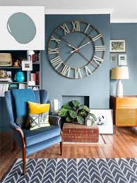 exquisite living room with blue walls in no fail colors for spaces paint shades dabbing and large clock