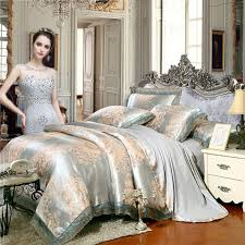 silver white rose gold and grey flower pattern luxury lace design old world classic jacquard fabric full queen size bedding sets