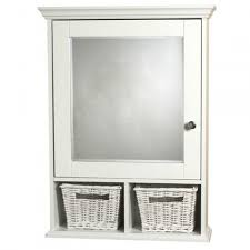 white surface mount medicine cabinet with wicker baskets  white