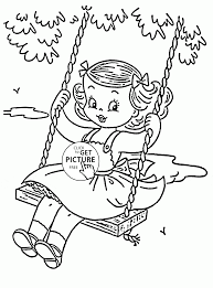 Cute Girl On A Swing Coloring