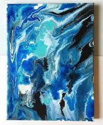 earth color swirls fluid acrylic abstract painting on canvas blue green teal