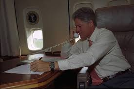 president william j clinton speaking on the telephone to israeli prime minister yitzhak rabin from air force 1 office