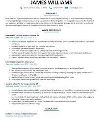 Resume : Preschool Teaching Resume Examples Teacher Template Word ...
