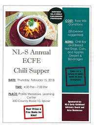 chili supper flyer new london spicer annual ecfe chili supper calendar willmarradio com