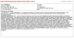Obstetrician And Gynecologist Cover Letter | Cover Letters Templates ...