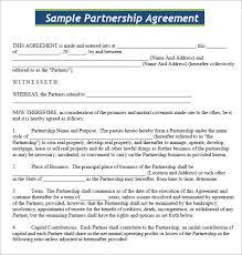 Sample Partnership Agreement Form Business Partner Agreement Cnbam