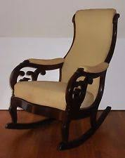 Antique Wood and Upholstered Rocking Chair