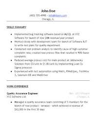 Sample Qa Resume Simple Quality Control Resume Examples Best