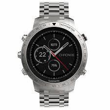 men s watches garmin fēnix chronos steel smart watch brushed stainless steel band