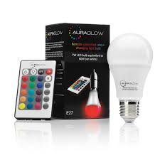 Remote Control Light Bulbs Uk Auraglow 7w Remote Control Colour Changing Led Light Bulb E27