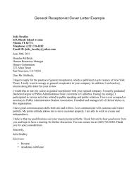 Cover Letter Design Front Sample Cover Letter For Receptionist