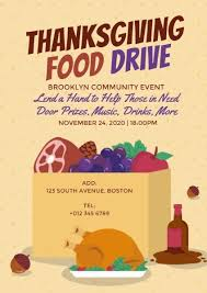 Food Drive Flyers Templates Online Thanksgiving Food Drive Flyer Template Fotor Design