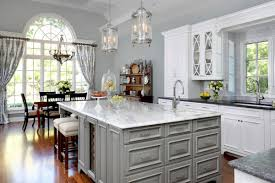 Traditional Formal White And Grey Kitchen Crystal Cabinets