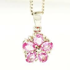 9ct white gold pink sapphire diamond flower pendant